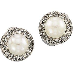 14 kt White Gold Freshwater Cultured Pearl & Diamond Earring