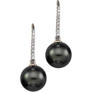 14kt White Gold Tahitian Pearl & Diamond Earring