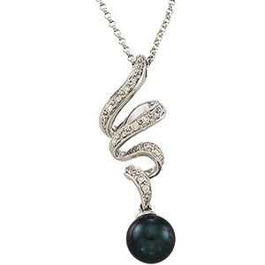 14kt White Gold Black Cultured Pearl & Diamond Necklace
