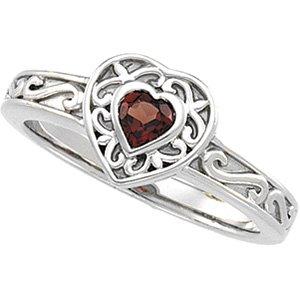 14kt White Gold Mozambique Garnet Heart Ring