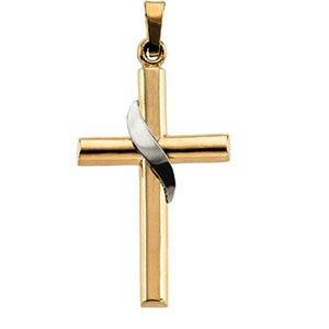 14kt Two Tone Gold Cross Pendant