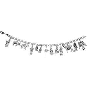 14kt White Gold Nativity Bracelet