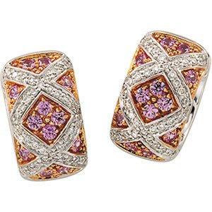 14kt White Gold Pink Sapphire & Diamond Earring