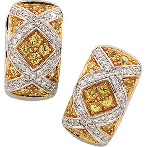 14kt Two Tone Yellow Sapphire & Diamond Earring