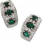 14kt White Gold Emerald & Diamond Earring