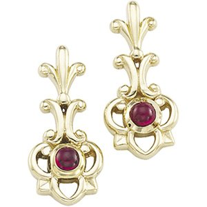 14kt Yellow Gold Ruby Earring