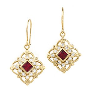 14kt Yellow Gold Chatham Created Ruby & Diamond Earring