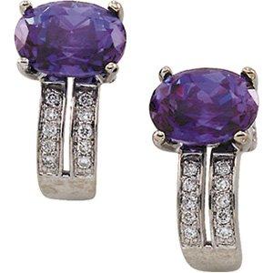 14kt White Gold Chatham Created Alexandrite & Diamond Earring