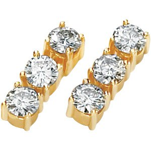 14kt Yellow Gold Created Moissanite 3 Stone Earring