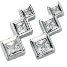 14kt White Gold 1.33 ctw Created Moissanite 3 Stone Earring