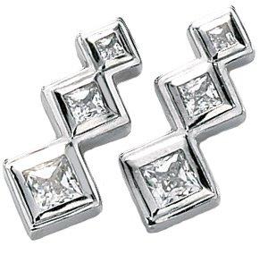 14kt White Gold 1.33 ctw Created Moissanite 3 Stone Earring