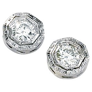 14kt White Gold .33 ctw Created Moissanite Stud Earring