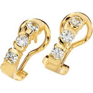 14kt Yellow Gold Created Moissanite Earring