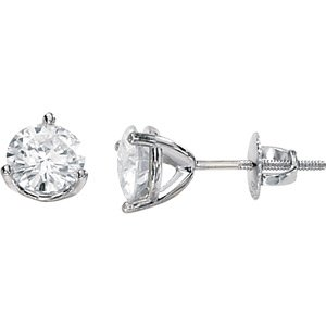 14kt White Gold 1 ctw Created Moissanite Stud Earring
