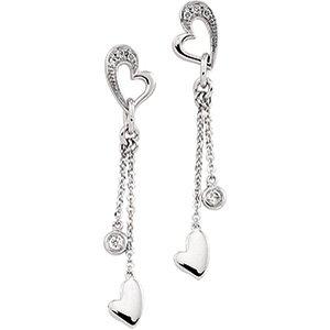 14kt White Gold .10 ctw Diamond Heart Earring