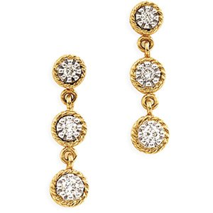 14kt Two Tone Gold .25 ctw Diamond Earring