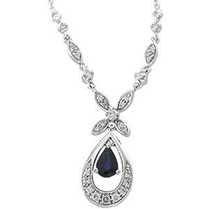 14kt White Gold Blue Sapphire & .25 ctw Diamond Necklace