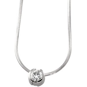 14kt White Gold .25 ctw Diamond Solitaire Necklace