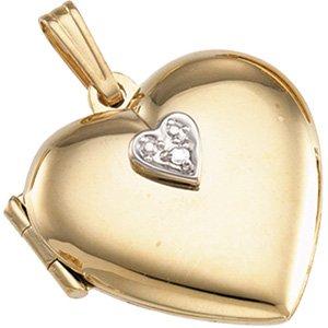 14kt Yellow Gold Diamond Heart Locket
