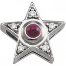 14kt White Gold Ruby & Diamond Pendant