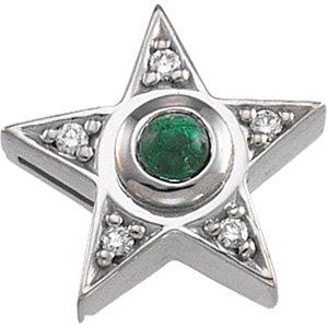 14kt White Gold Emerald & Diamond Pendant
