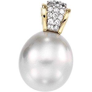 14kt Yellow Gold Tahitian Pearl & Diamond Pendant