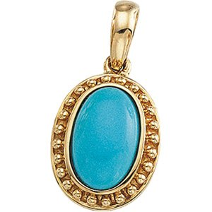 14kt Yellow Gold Cab Turquoise Pendant