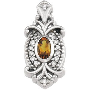 14kt White Gold Citrine & Diamond Pendant