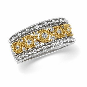 14kt Two Tone Gold Diamond Bridal Anniversary Band Ring