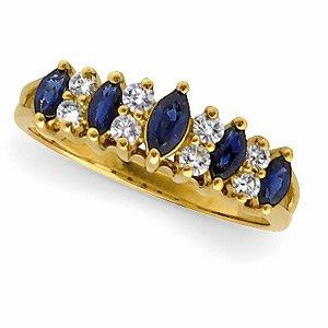 14kt Yellow Gold Sapphire & Diamond Band Ring