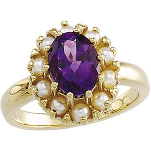 14kt Yellow Gold Amethyst & Pearl Ring