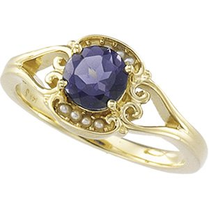 14kt Yellow Gold Iolite & Cultured Pearl Ring