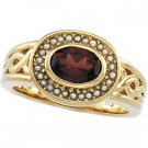 14kt Yellow Gold Mozambique Garnet & Pearl Ring