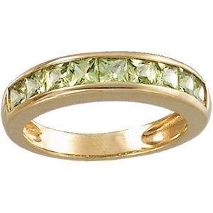 14kt Yellow Gold Peridot Channel Ring