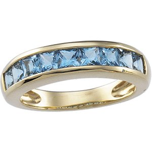 14kt Yellow Gold Blue Topaz Channel Ring