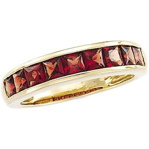 14kt Yellow Gold Garnet Channel Ring