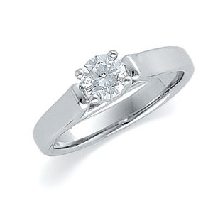 14kt White Gold Diamond Solitaire Bridal Engagement Ring