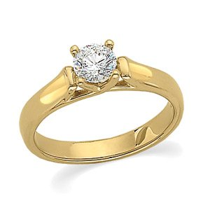 14kt Yellow Gold Diamond Solitaire Engagement Ring