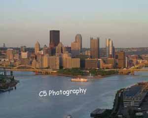 Pittsburgh Skyline at Sunset (Pitt010) - 8x10 Matted Photograph