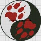 Wolf Paw Print Ying Yang - PDF Cross Stitch Pattern