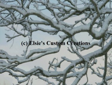 Sunset Snowy Branches - PDF Cross Stitch Pattern