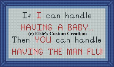 Baby Vs. Man Flu - PDF Cross Stitch Pattern