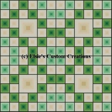4 Block Quilt Irish Eyes 1 - PDF Cross Stitch Pattern