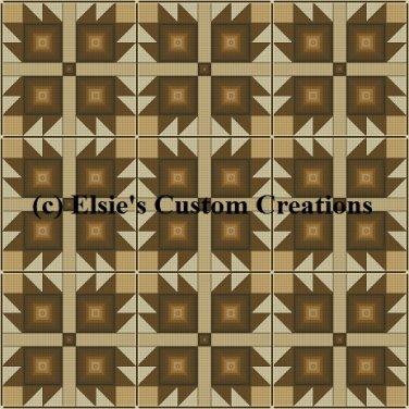 9 Block Quilt Bear Claw 1 - PDF Cross Stitch Pattern
