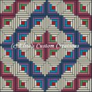 Full Size Quilt Log Cabin Barn Raise - PDF Cross Stitch Pattern