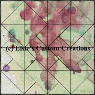 Watercolor Quilt Block 13 - PDF Cross Stitch Pattern
