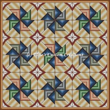 Full Size Quilt Spiral Pinwheel 1 - PDF Cross Stitch Pattern