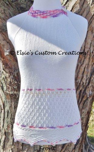 English Mesh Lace Halter Top - PDF Knitting Pattern