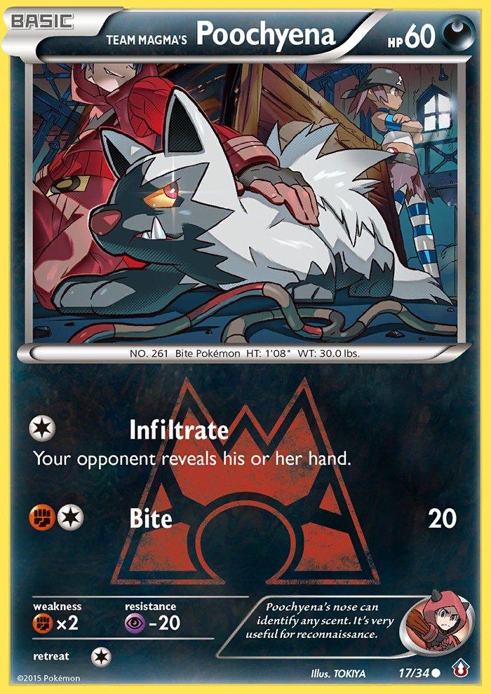 Pokemon Double Crisis Single Card Common Team Magma's Poochyena 17/34