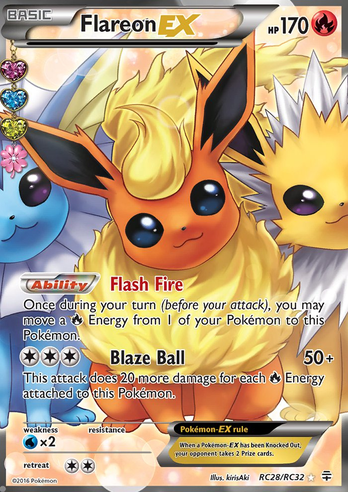 Pokemon Generations Radiant Collection Single Card Full Art Flareon EX RC28/RC32